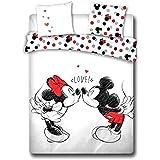 Enjoykids Mickey Minnie Bisous Disney - Parure de Lit 2 Places - Housse de Couette Minnie Coton 200x200 cm
