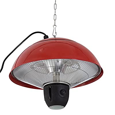 Outsunny 1500 W Outdoor Ceiling Mounted Aluminium Halogen Electric Hanging Patio Heater Light with Remote Control