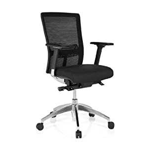 hjh OFFICE 657512 silla ejecutiva ASTRA BASE malla/tela negro/azul silla escritorio ergonomica con reposabrazos soporte lumbar