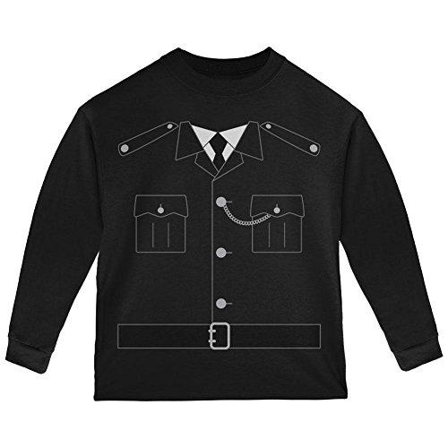 Halloween britische Bobby Kupfer Polizei Kostüm Kleinkind Langarm T-Shirt schwarz 2 (Polizei Baby Kostüm Officer Für)