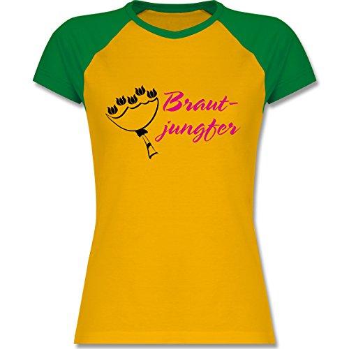 JGA Junggesellinnenabschied - Brautjungfer - zweifarbiges Baseballshirt / Raglan T-Shirt für Damen Gelb/Grün