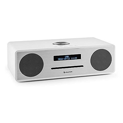 auna Stanford • Digitalradio • DAB+ / UKW-Tuner • dimmbares LED-Display • RDS-Funktion • Radiowecker • MP3-fähiger USB-Port • Slot-In CD-Player • Bluetooth 3.0 • programmierbarer Wecker • 2 Line-Eingänge • Bassreflexgehäuse • Fernbedienung • weiß
