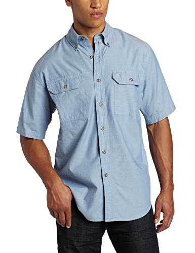 Chambray-utility Shirt (Carhartt Men's Fort Short Sleeve Shirt Lightweight Chambray Button Front,Blue Chambray,Large)