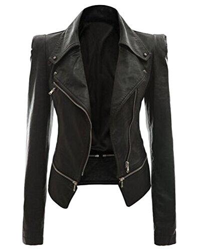 Brinny Damen Turndown Collar Dünnen Sitzes Zip Jacket , Schwarz 2XL