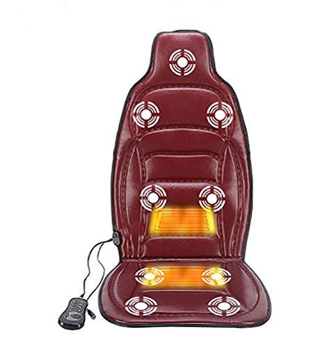 DIELIAN Rücken Massagegerät Massagesitzauflagen für Rücken, Nacken und Oberschenkel mit 8 Motor Vibrationen 4 Modi 3 Geschwindigkeit Heizung im Home Office Car , Red