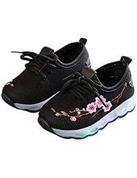 Zapatos de niños, Calzados/Zapatillas/Sandalias de niños Unisex Children LED Zapatos Ligeros Bordar Deportes Casual Zapatos Antideslizantes para bebés