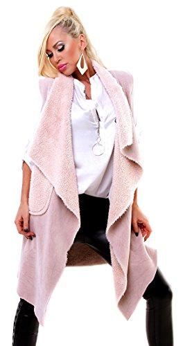 f4y Italy - Damen Oversized Longweste Teddy - Size M - Plüsch Velours-Optik mit Taschen - Rose Ärmellose Shell