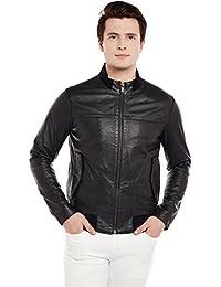 Bareskin Men's Black Side Flap Pockets Leather Jacket