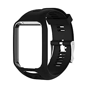 Hongfutong Watch Strap Bracelet Connected Replacement Silicone Band Strap for Sports GPS Watch for Tomtom Runner 2 / Racer 3 / Spark 3 / Adventurer/Golfer 2 Sports GPS Running Smartwatch (Black)