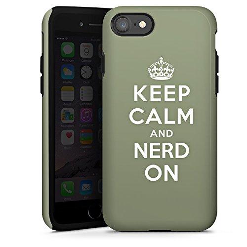 Apple iPhone X Silikon Hülle Case Schutzhülle Keep Calm Nerd Sprüche Tough Case glänzend