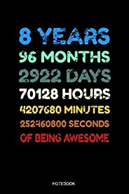 8 Years Of Being Awesome Notebook: Blank Lined Journal 6x9 - 8 Years Old 8th Birthday Retro Vintage 96 Months