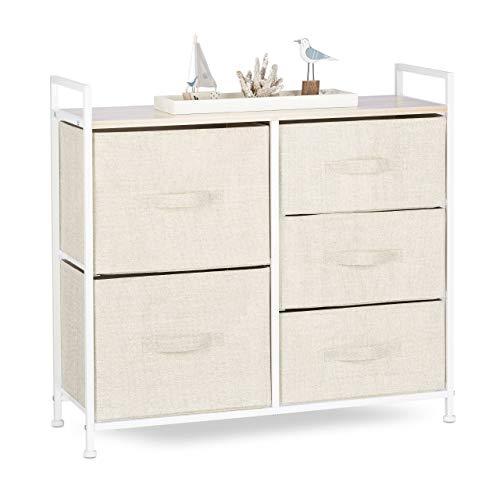 Relaxdays Regalsystem, 5 Stoff-Schubladen, universale Schubladenbox, Metall und Holz, HxBxT: 77,5 x 83 x 29 cm, beige -