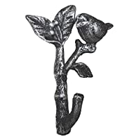 Comfify Bird On A Branch Single Wall Hook/Hanger - Metal, Heavy Duty, Rustic, Vintage, Recycled, Decorative Gift Idea - 4.75x1.8x6 - With Screws And Anchors (Silver with Black)