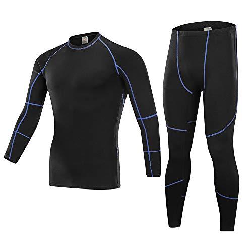 Skysper set biancheria intima termica, maglia termica + pantaloni termici alta elasticità e alta traspirabilità leggings inverno autunno per corsa sci palestra ciclismo fitness blu