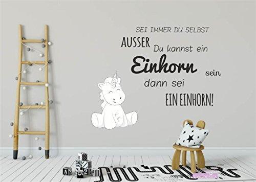 Wandtattoo Wandsticker Aufkleber Wall Tattoo Kinderzimmer Schlafzimmer Unicorn Einhorn Cutie Sei Immer du selbst 120 cm x 70 cm