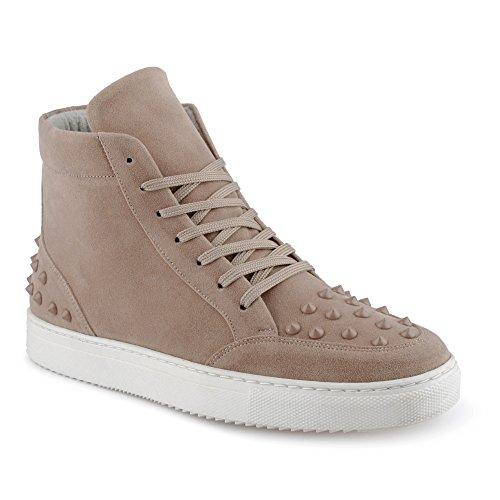 FiveSix Herren Sportschuhe High Top Sneaker Nieten Basketballschuhe Velours-Optik Freizeitschuhe Schuhe Beige EU - 1 Nike Yeezy