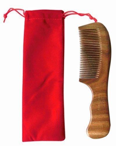 vendeur Royaume-Uni! 100% Fait Main Vert Santal Peigne, Grand Sandale Bois peigne anti statique 19cm - Vert, With gift bag