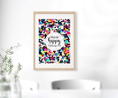 THINK HAPPY THOUGHTS farbenfroher DIN A4 Kunstdruck Design Druck | Bild | ungerahmt | Freude | Wohnzimmer | Dekoration | Inneneinrichtung | Miss Coopers Lounge