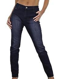 (1353 Jeans Indigo Foncé Extensible Jambes Délavées Grande Taille