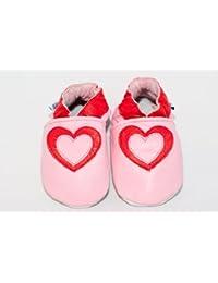 Zapatos de bebé de piel suave con corazones