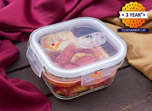 Femora Borosilicate Square Glass Food Storage Container with Air Vent Lid -800 ml,