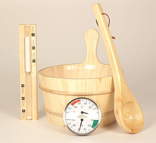 Klassisches Sauna-Zubehörset 5-teilig, Sauna-Set aus naturbelassenem Holz