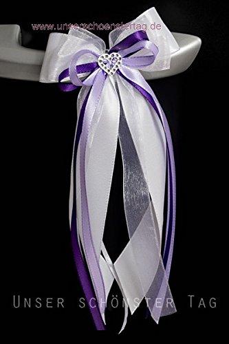 hundeinfo24.de 10 Stk Antennenschleife Autoschleife Autoschmuck Hochzeit SCH0010 weiß lila flieder