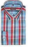 MARVELIS Body Fit Hemd extra langer Arm Karo blau/rot AL 69 Größe 42