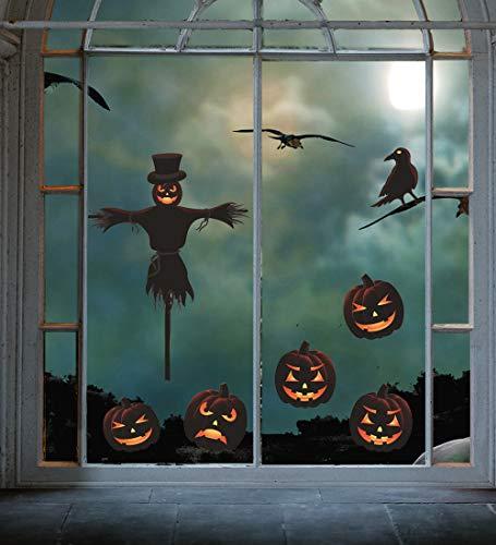 Tuopuda 4 hoja Halloween Pegatinas Pared Esqueleto Pegatinas Ventanas Halloween Decoracion Terror 4 hoja (Esqueleto)