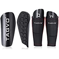 TAGVO Football Shin Guards with Sleeve, Kids Soccer Equipment with Pocketed Compression Calf Sleeves, Youth Sizes Performance Soccer Shin Pads for Boys Girls