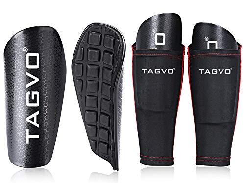 Tagvo Soccer Shin Guards mit Ärmel, Kinder Fußball Ausrüstung mit Taschen Kompressionswade Ärmel, Jugend Größen Performance Fußball Schienbeinschoner für Jungen Mädchen -
