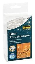 Idena 31116 - Catena luminosa circolare con 10 LED Micro, per interni, Bianco caldo, 2.40 m