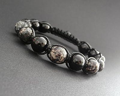 Bracelet shamballa homme pierres naturelles jaspe artic et onyx Ø10 mm