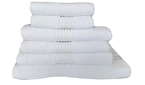 Luxus 100% Baumwolle 450 gsm Bad Handtücher 6-teiliges Set Soft saugfähig Komfort Plüsch Hotel Qualität Handtuch Bad Tabelle White (Luxus-bad-blatt)