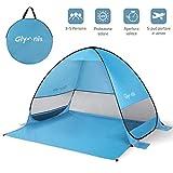 Glymnis Tenda da Spiaggia per Esterni Portatile3-5 Persone Parasole Spiaggia Pop up, Protezione Solare UPF 50+, Blu (Manuale Video) (Bigger Size)