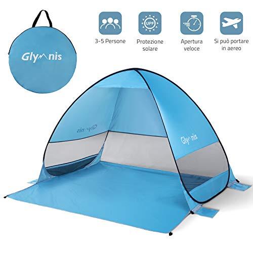 Glymnis Tenda da Spiaggia per Esterni Portatile3-5 Persone Parasole Spiaggia Pop UP, Protezione Solare UPF 50+, Blu [Manuale Video] [Garanzia di 2 Anni] [Bigger Size]