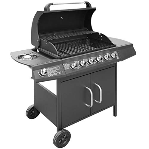 41PQ1TcI0aL. SS500  - Tidyard Gas Barbecue Grill 6+1 Burner Garden Grill Outdoor Cooking Zone with Side Table 2 Castors Black and Silver