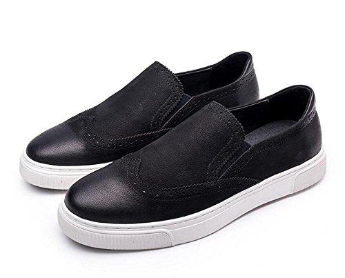 SHIXR Herren Oxfords Casual Schuhe Board Toe Slip-On Leder Sport Freizeit Schuhe Sommer Breathable Loafer Schuhe Brogue Flats Schuhe Black