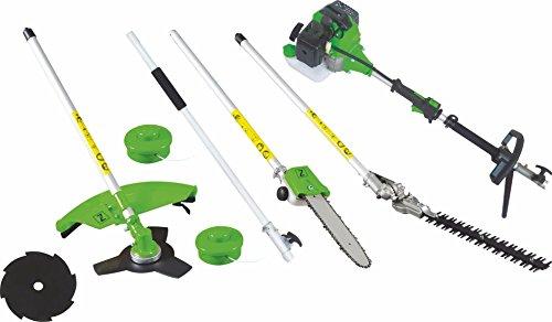 Zipper ZI-GPS182 4in1 Gartenpflegeset mit Entaster Heckenschere Trimmer und Sense - Grün