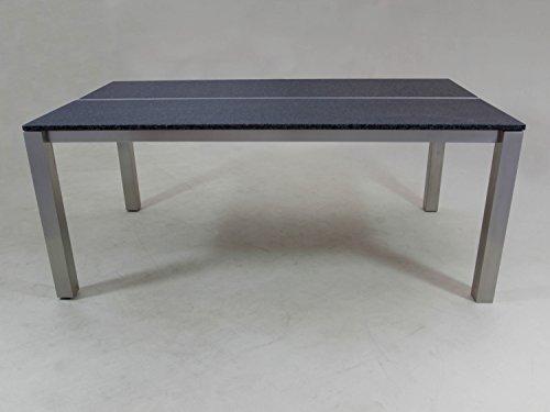 Edelstahl Granittisch Tharos, 180x100 Cm, Tischplatte Nero Africa Gebürstet.