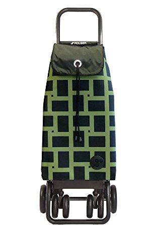 ROLSER Einkaufsroller Logic Tour / GEOMETRIK, IMX030, 39,5 x 32,5 x 106 cm, 43 Liter, 40 kg Tragkraft, schwarz/grün