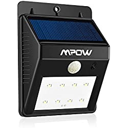 Foco Solar de 8 LED,Lámparas Solares Mpow con Sensor de Movimiento,Focos para la Pared de Luz Solar, Led Solar Movimiento, Luces de Exterior Solar para Jardín, Patio, Terraza, Escaleras, Camino de Entrada, Iluminación y Seguridad de Exterior