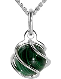 InCollections Women's and Children's Pendant 925/000 Gold with Malachite including Curb Chain 45 CM 5480200012401