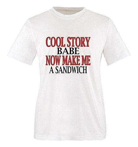 Comedy Shirts - Cool story babe. Now make me a sandwich - Mädchen T-Shirt - Weiss / Schwarz-Rot Gr. 152/164 (Sandwich-kinder T-shirt)