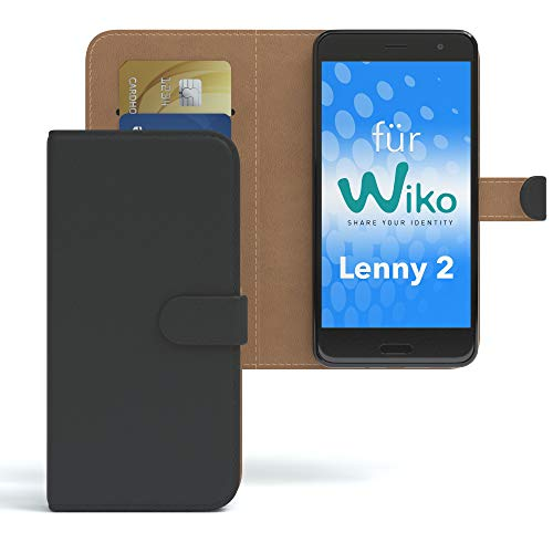 EAZY CASE WIKO Lenny 2 Hülle Bookstyle mit Standfunktion Book-Style Case aufklappbar, Schutzhülle, Flipcase, Flipstyle, Flipcover mit 2 Kartenfächern aus Kunstleder, Schwarz