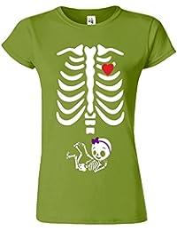 "SNS Online Kiwi - M - Ajuster: EU 40"" - Adorable Skeleton Heart Dames T Top T-Shirt"