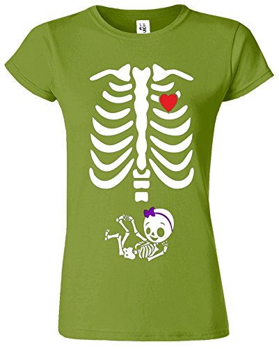 Adorable Skeleton Heart Dames Top T-Shirt Maternity Pregnancy Baby Femme Kiwi
