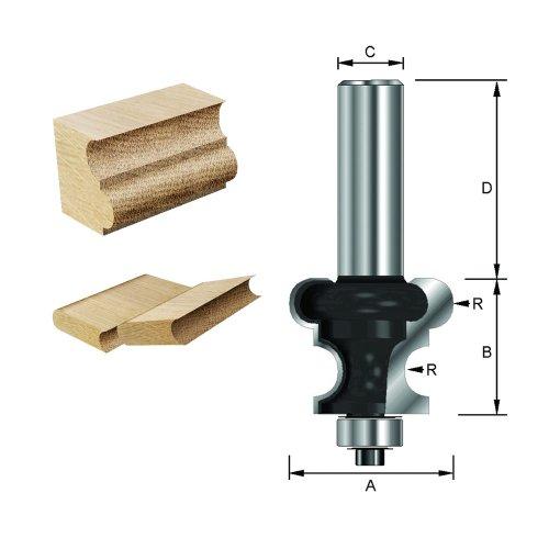 ENT Rolladenfräser Konkav & Konvex HW (HM), Schaft (C) 8 mm, Durchmesser (A) 25,4 mm, B 15,9 mm, R 3,18 mm, D 32 mm, mit Kugellager