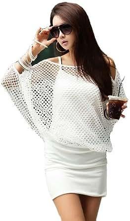 Demarkt Sexy Robe Femmes/ avec Bretelle en Evidement/ Couleur Blanc/ Taille M