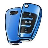 Autoschlüssel Hülle Audi,Schlüsselhülle Cover für Audi A1 A3 A4 A6 Q3 Q5 Q7 S3 R8 TT Seat 3-Tasten Schlüsselbox(Blau)